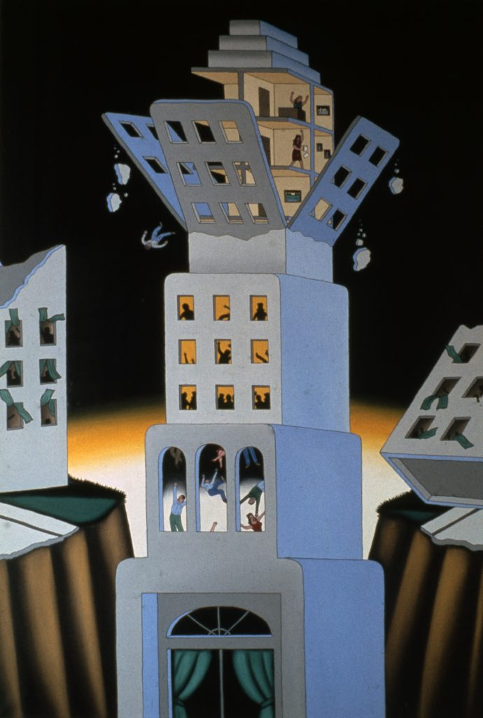 Painting of a gray skyscraper with four tiers. The top tier crumbles, chunks of cement and a man falling into the cavern the building sits in. The background is black with bright yellow at the horizon line.