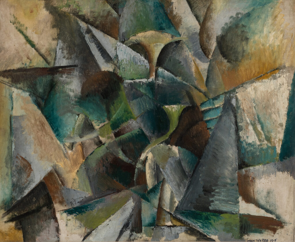 Abstract painting depicting angular shapes in shades of green, gray, and brown.