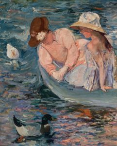 Impressionist paining of a woman and a girl in a small boat leaning over the side to look into the water. Two ducks are floating on the multicolored blue water.