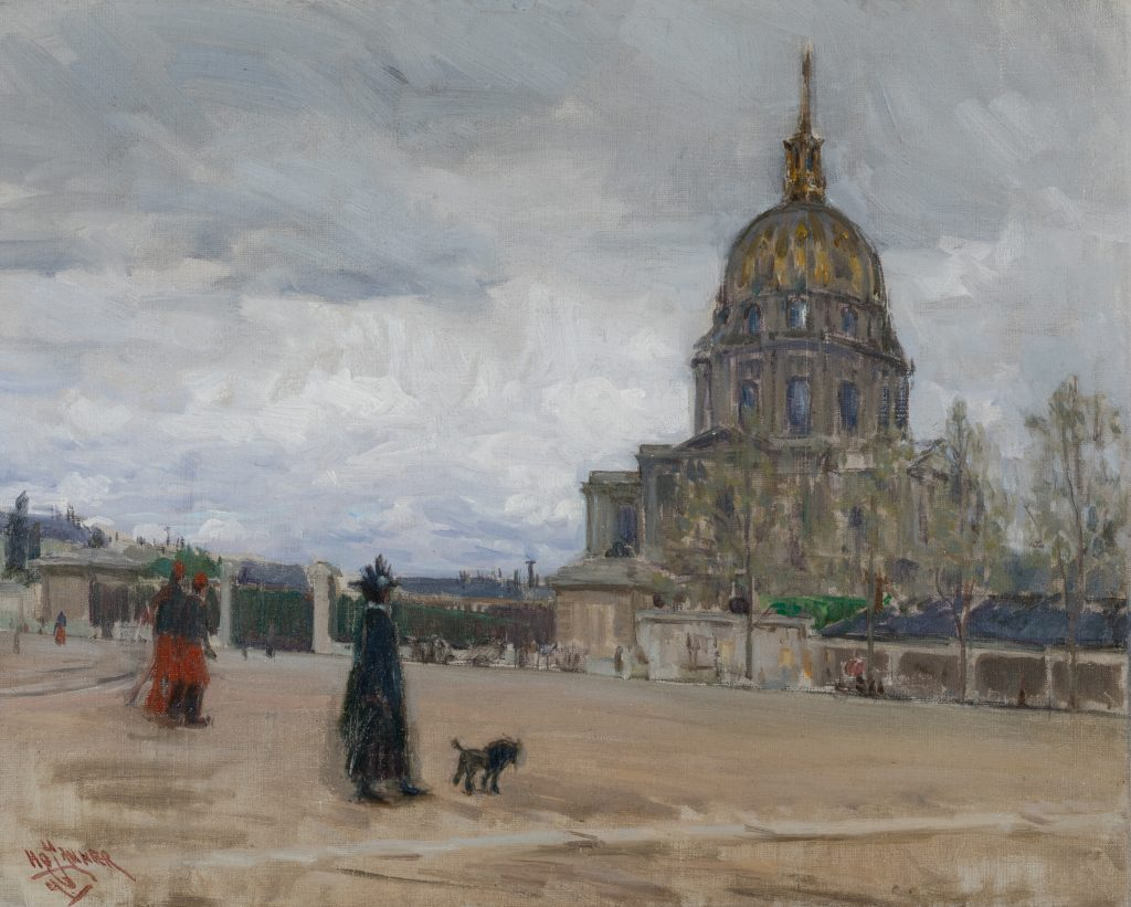 Impressionist painting of a street scene in Paris. Two individuals and a dog are in the foreground, and a domed building is in the background. The sky is gray and cloudy.