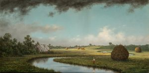 Landscape painting of a river flowing through a field with haystacks dotting the field. A dark, gray cloud is at the top of the painting over a light blue sky.