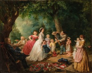 Painting of a group of people having a picnic in a clearing in the forest.
