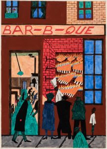 "Painting of a red brick building with the word ""BAR-B-QUE"" on a sign above the doorway. Black individuals are seated at a counter seen inside the open door and look into an open window where a figure with a tall, white chefs hat is seen in front of meat roasting on four rotisseries."