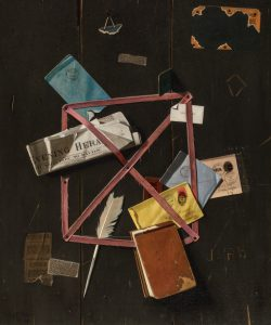 Painting of letters, newspapers, notebook, a feather, stamp, and other memorabilia held to a brown bulletin board by pinned, thin red tape.
