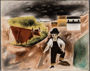 Painting of a boy and a cow, with buildings in the background and a black sky.