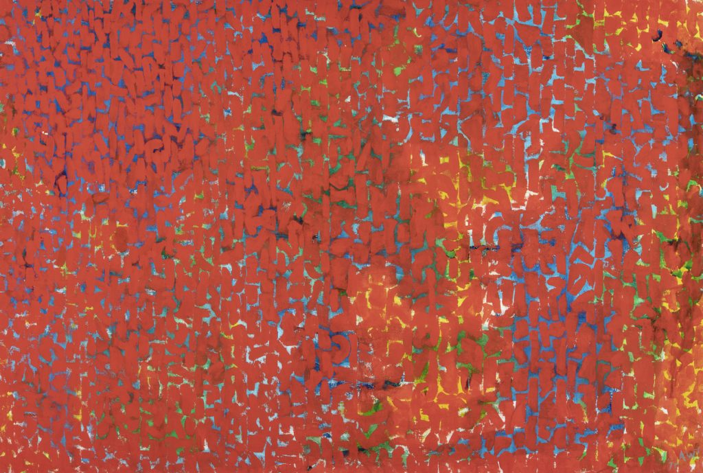 Painting that is primarily red vertical marking painted over an image underneath, which appears only as blue, yellow, and green marks beneath the red.