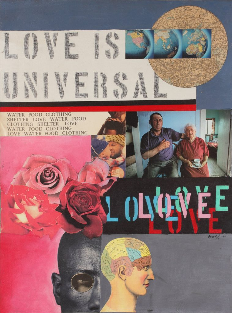 Collage with photographs, blocks of pink and gray, and text, some of which reads Love Is Universal.